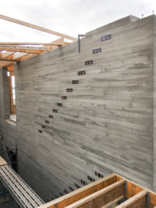 Wood grain concrete wall